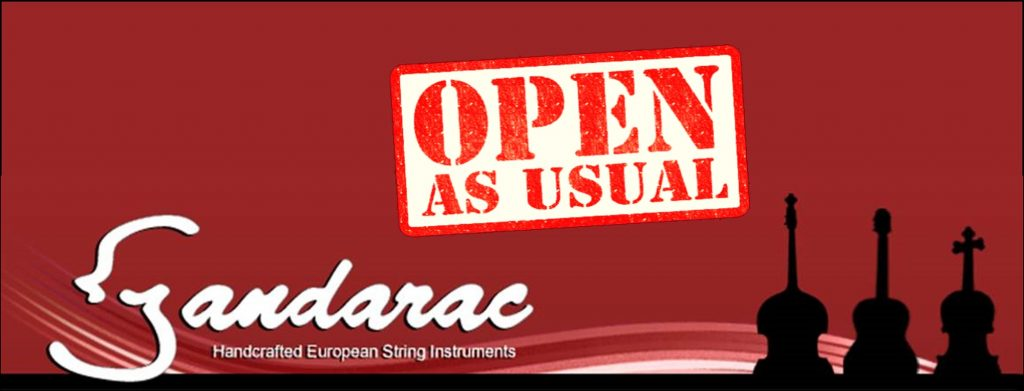 The Sandarac logo (name, wave, and three instruments in silhouette) is on a background with open as usual stencilled on it.