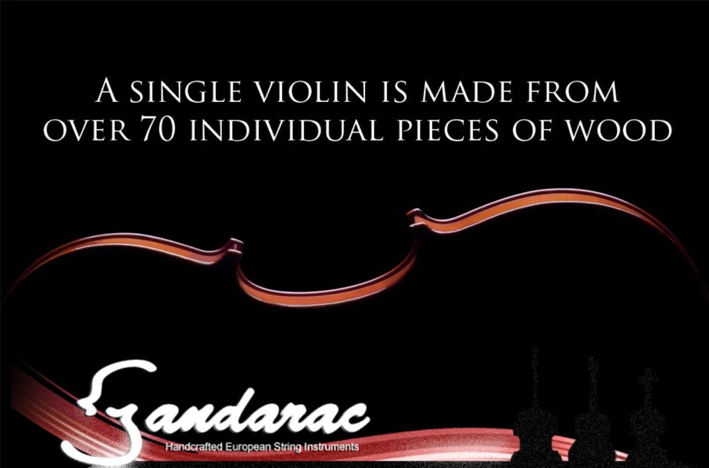 Violin in silhouette on a black background