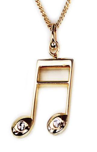 Gold Plated Beamed Semi Quaver Pendant