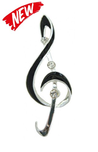 Black Enamel Treble Clef  Brooch
