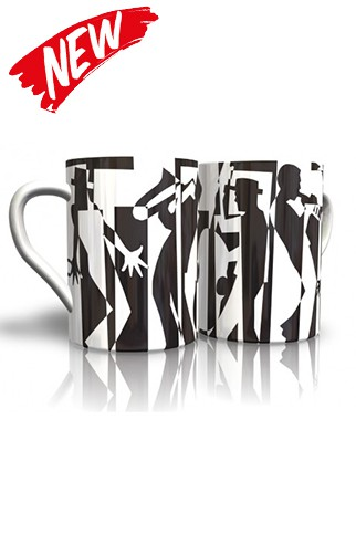 Bone China Black Jazz Mug