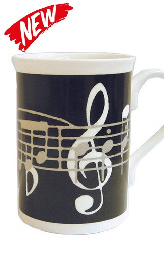 Bone China Black Notes Mug