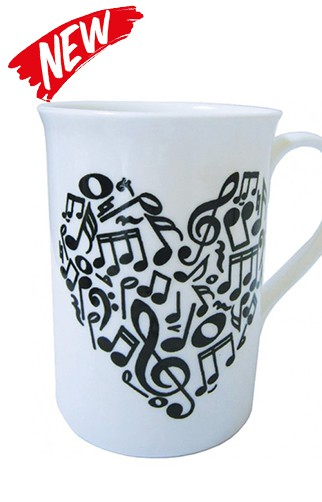 Bone China Heart Notes Mug