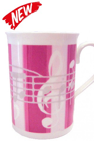 Bone China Pink-Striped Notes Mug