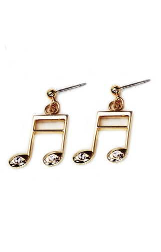 Gold Plated Beamed Semi Quaver Earrings