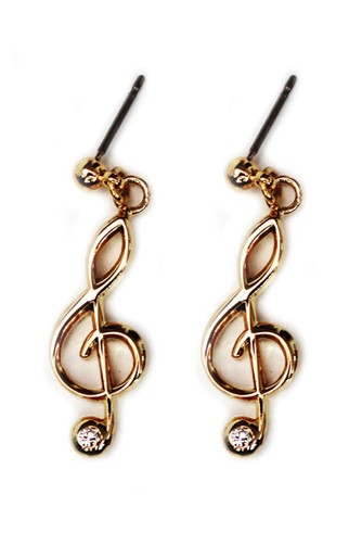 Gold Plated Treble Clef Earrings