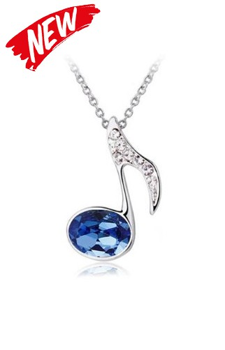 Small Quaver Pendant with Blue Crystal